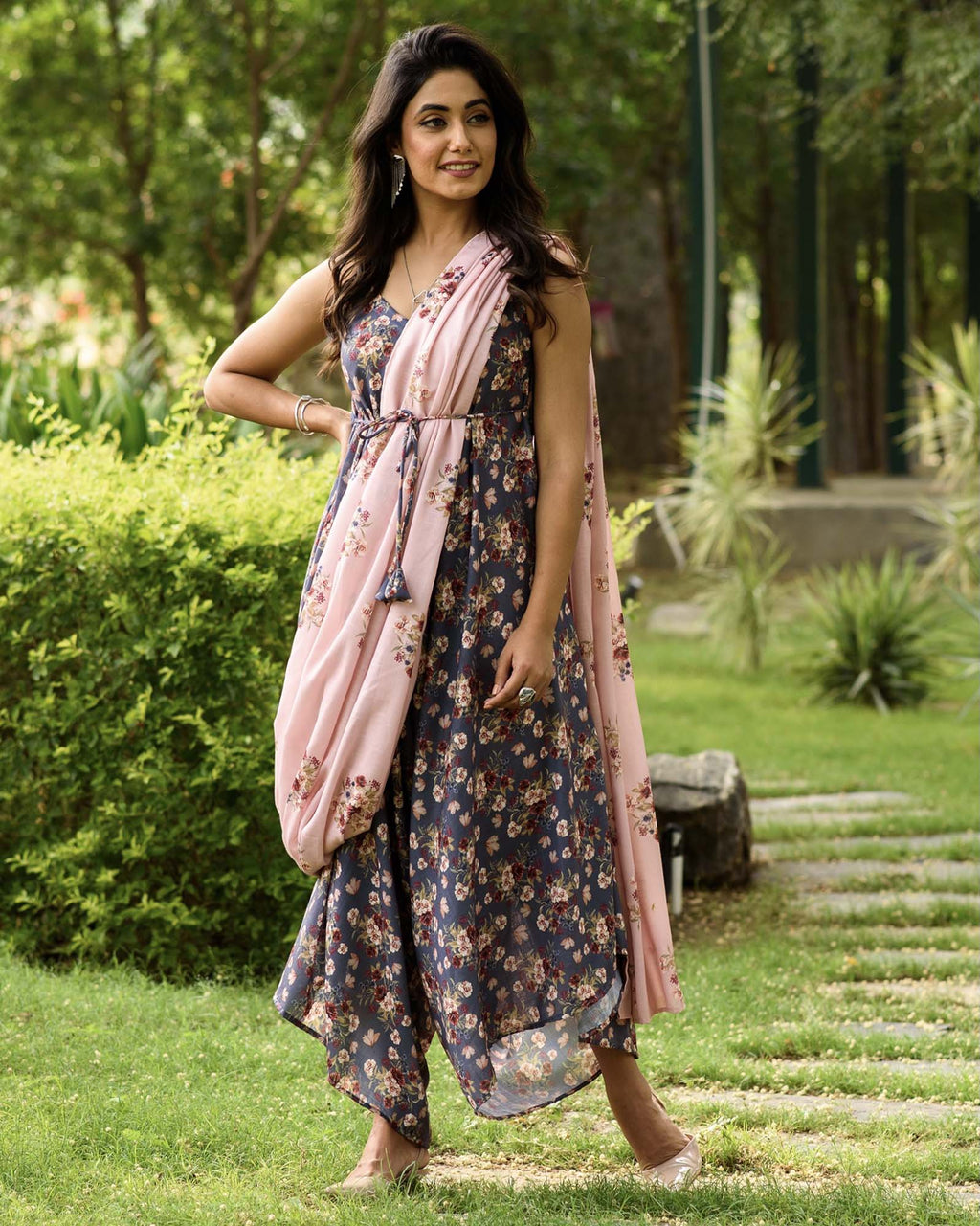 Persian Blue Palazzo Jumpsuit With A Detachable Carnation Pink Pallu - Riviera Closet