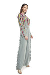 Periwinkle Blue Colour Georgette Crop Top with Palazzo Pant - Riviera Closet