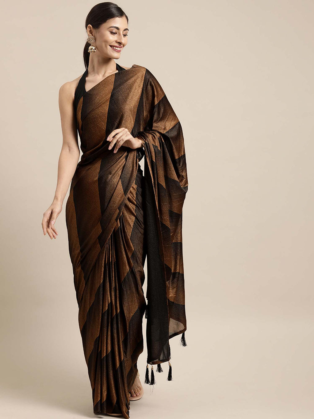 Brown & Black Color Poly Crepe Saree With Tassels & Fancy Blouse - Riviera Closet