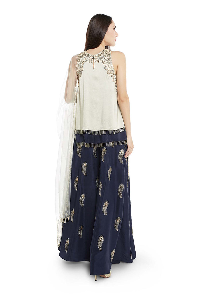 Mint and Navy Colour Silk Short Kurta with Navy Colour Silk Palazzo and Mint Colour Net Duaptta - Riviera Closet