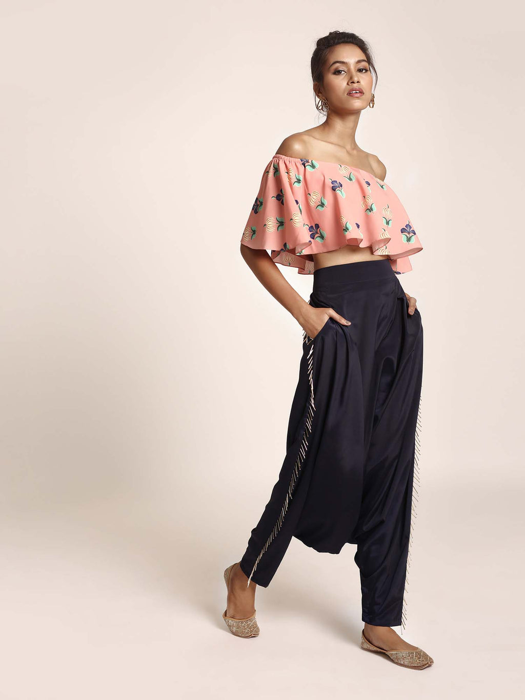 Coral Printed Art Crepe Ruffle Off Shoulder Top with Navy Art Crepe Low Crotch Pant - Riviera Closet