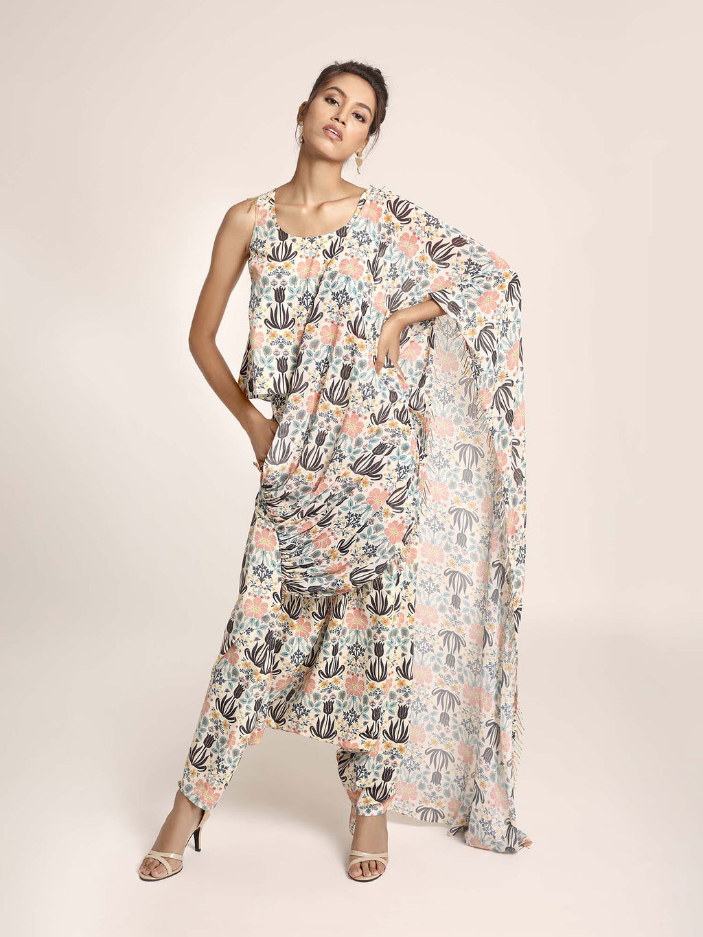 Cream Printed Art Crepe Top and Low Crotch Pant with attached Printed Art Georgette Drape - Riviera Closet