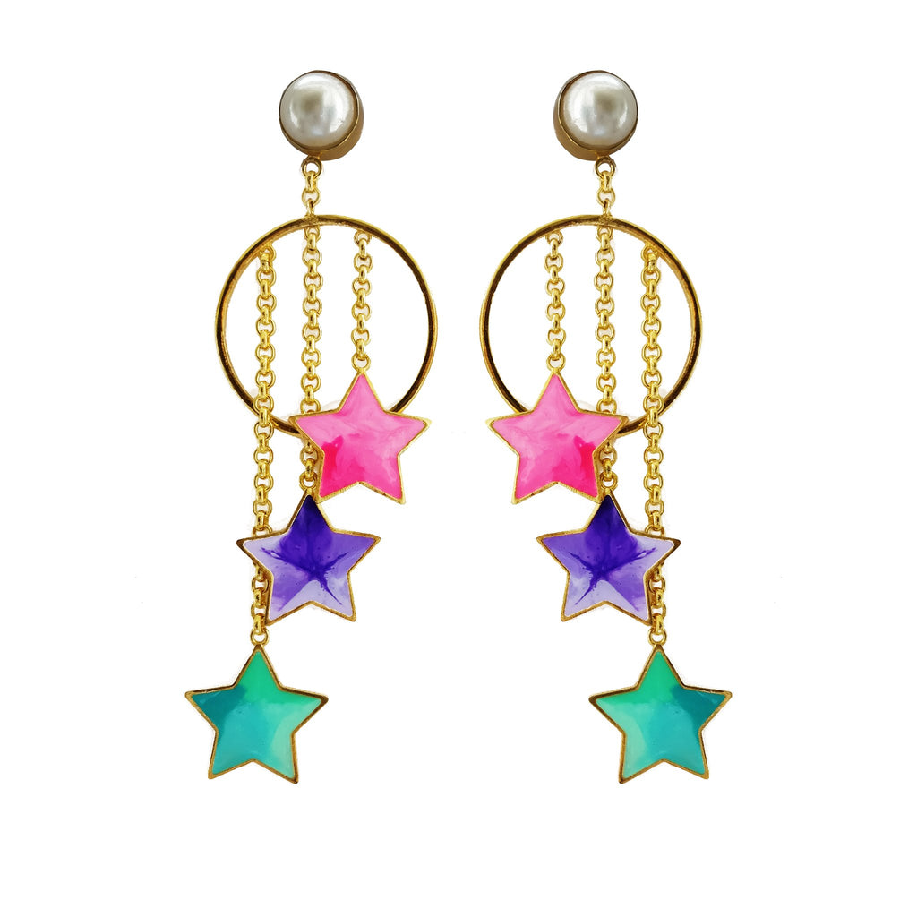 Pearls And Stars Danglers - Riviera Closet
