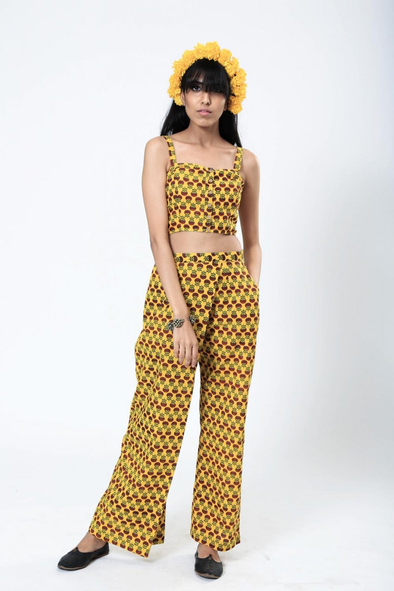 Hand Screen Printed Gulmohar Pants - Riviera Closet