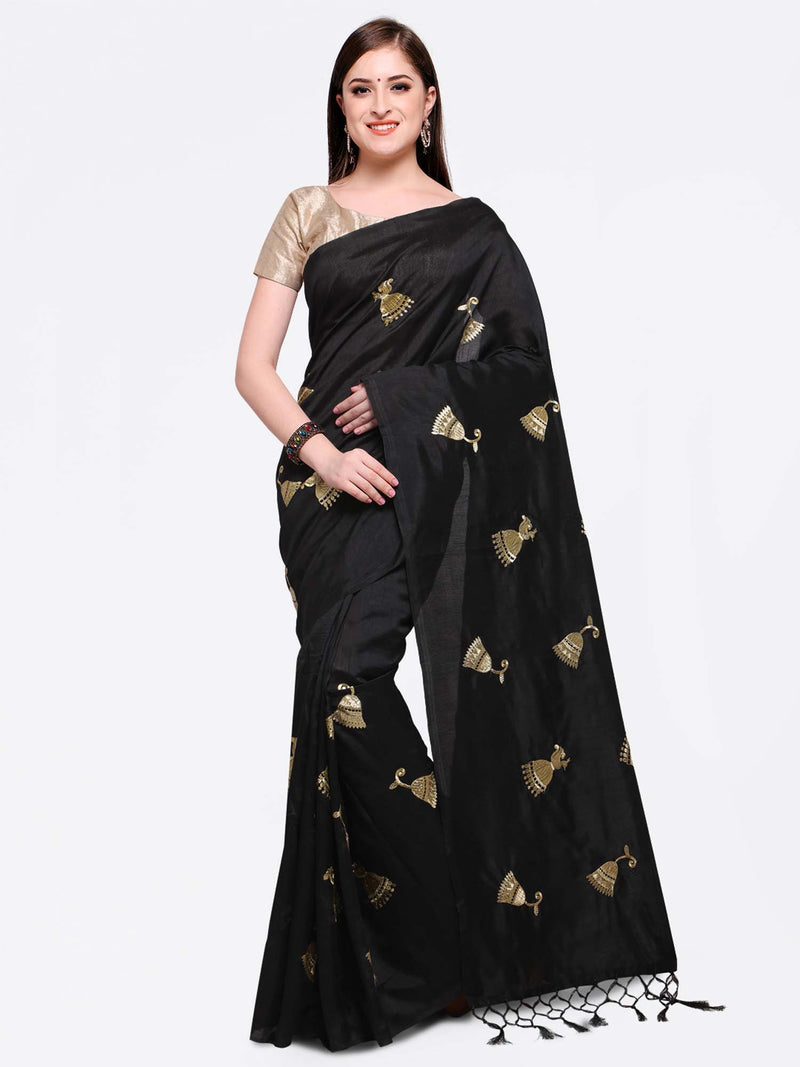 Black Embroidered Poly Georgette Saree - Riviera Closet