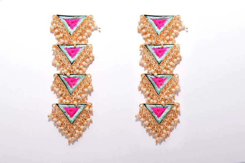 Vanilla And Pink Matte Finished Inverted Long Four Layered Triangle Earrings - Riviera Closet