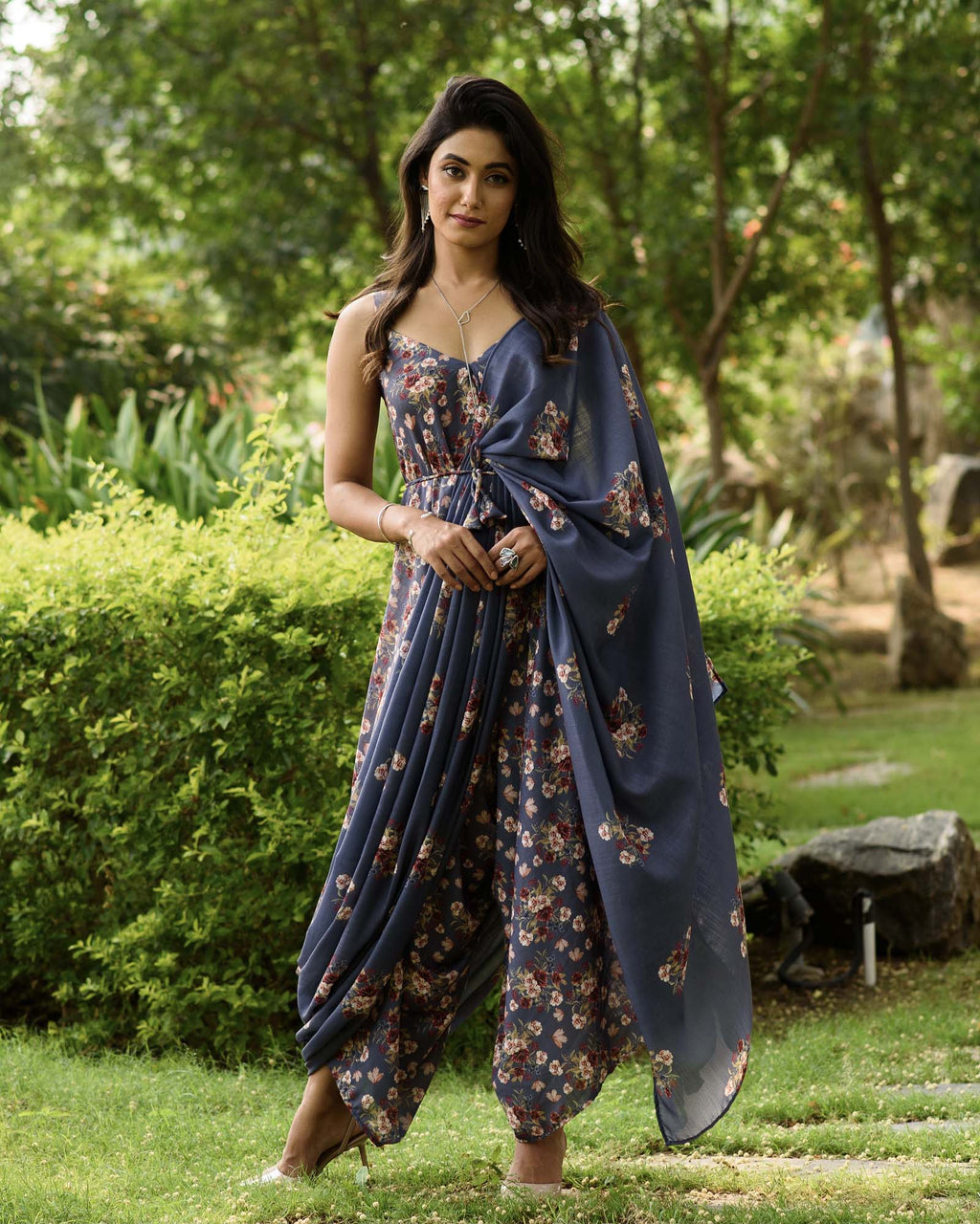 Persian Blue Palazzo Jumpsuit With A Detachable Persian Blue Pallu - Riviera Closet