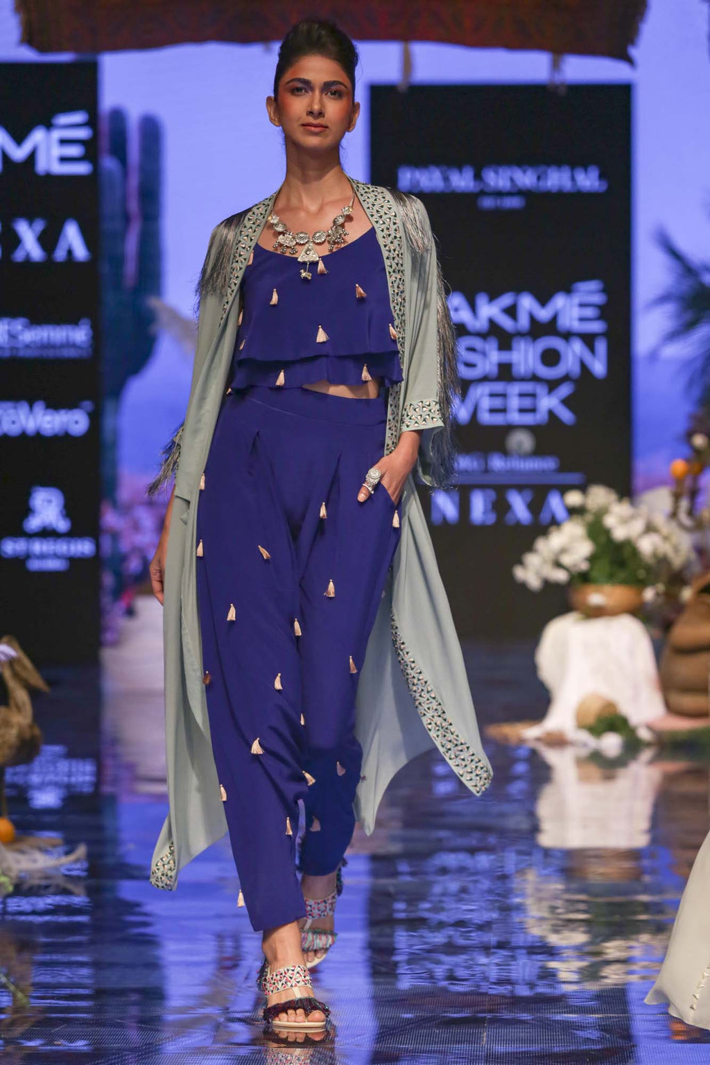 Periwinkle Blue Colour Georgette Jacket with Cobalt Blue Colour Crepe Layered Top with Low Crotch Pant - Riviera Closet