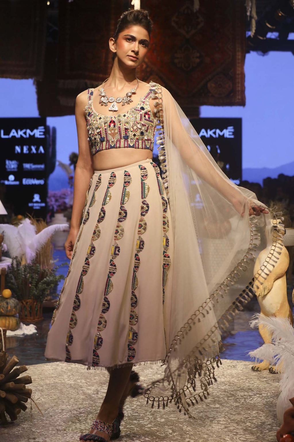 Stone Georgette Bustier And Cropped Lehenga With Net Dupatta - Riviera Closet