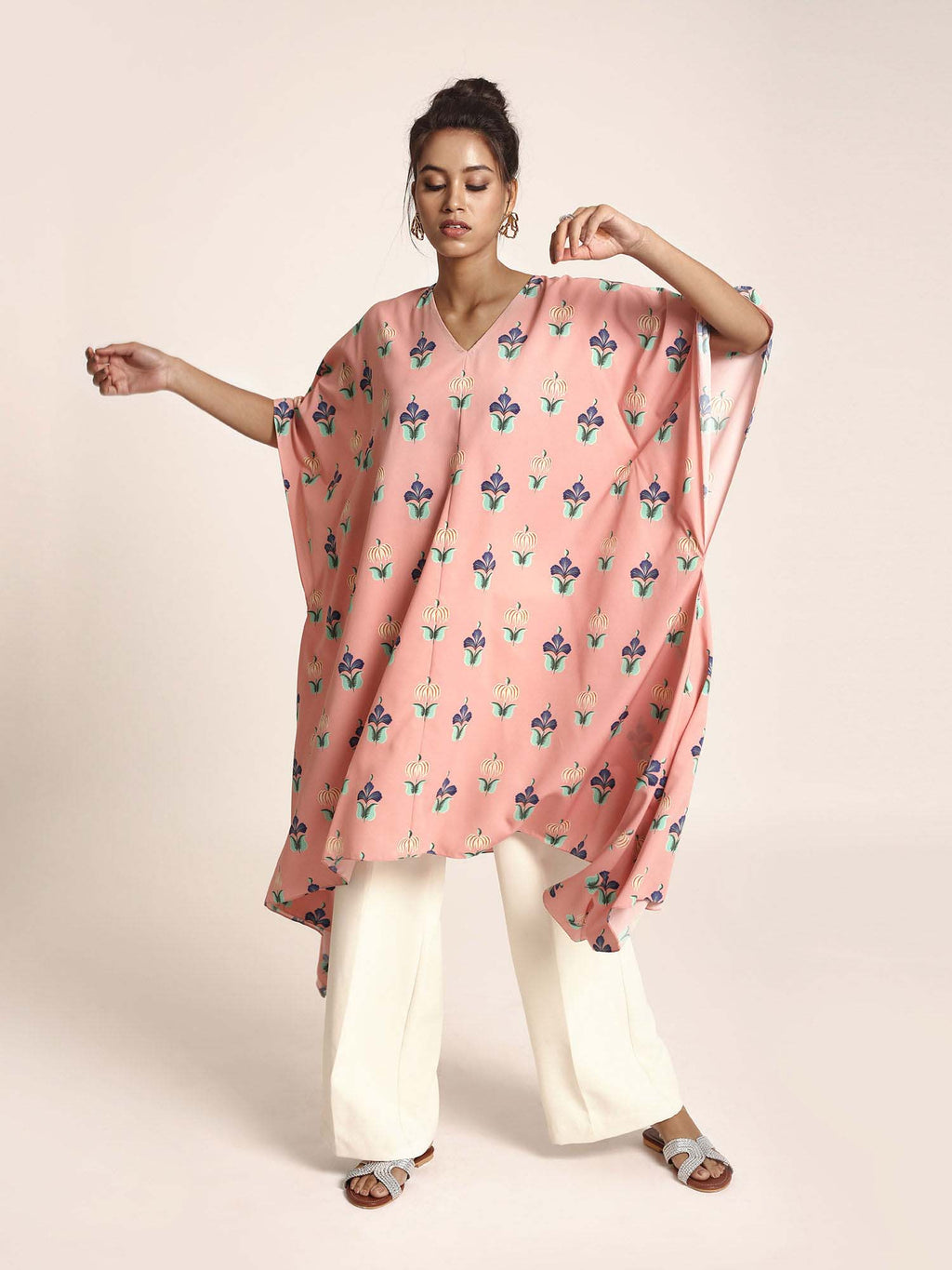 Pink Colour Printed Art Crepe Kaftaan - Riviera Closet