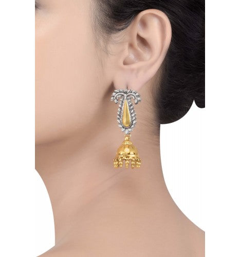 Silver Oxidized Dual Tone Jhumki Drop Leaf Earrings - Riviera Closet