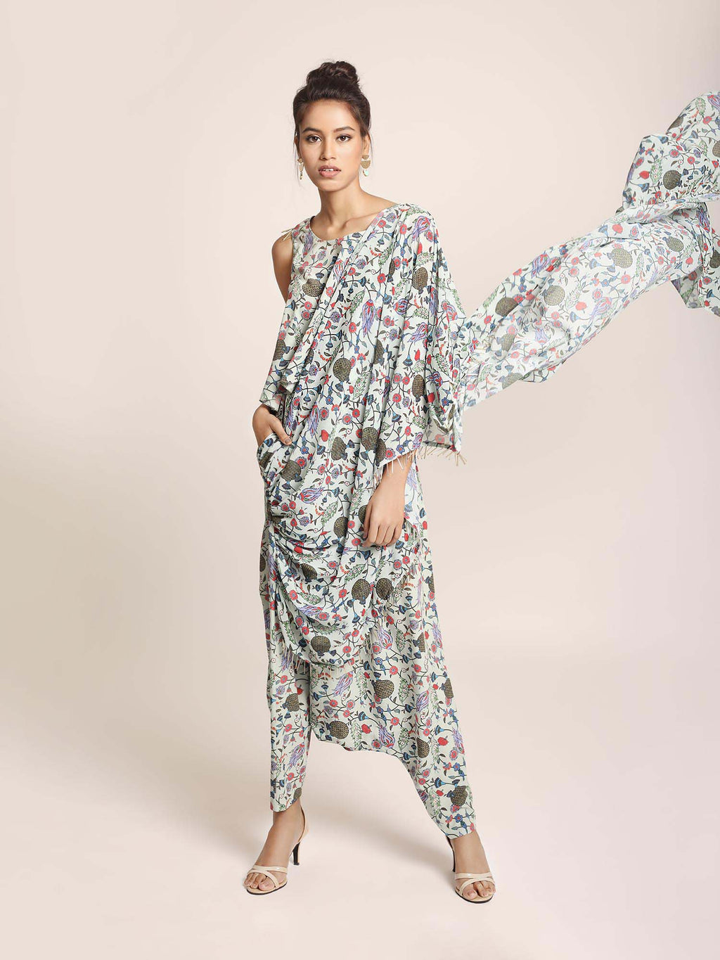 Blue Printed Art Crepe Top and Low Crotch Pant with attached Printed Art Georgette Drape - Riviera Closet