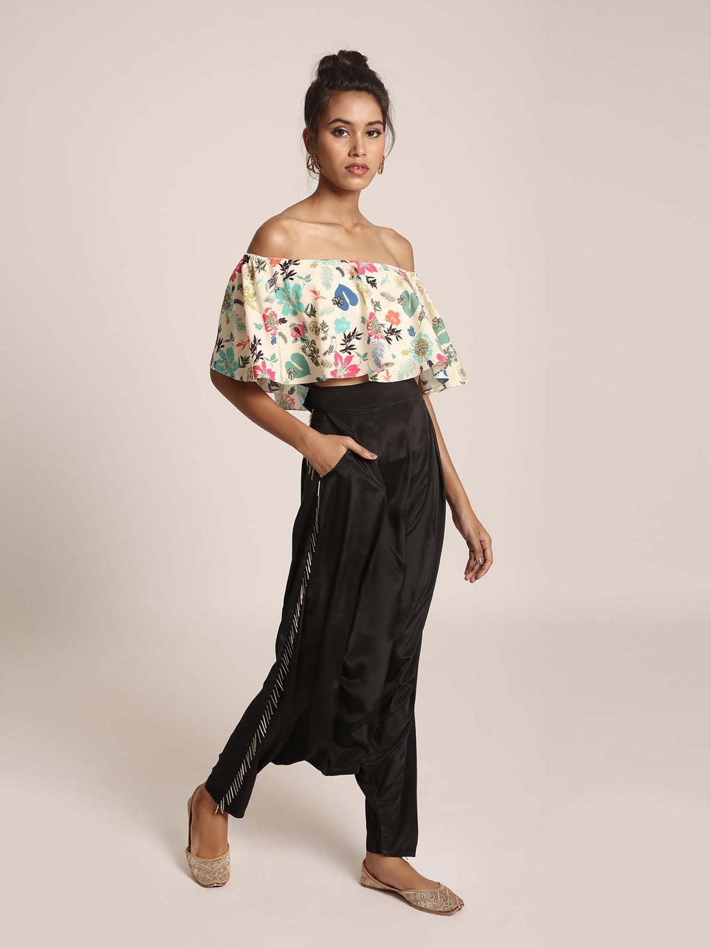 Cream Printed Art Crepe Ruffle Off Shoulder Top with Black Art Crepe Low Crotch Pant - Riviera Closet