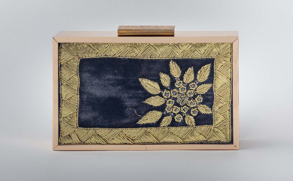Teal Blue Zardozi Work Clutch - Riviera Closet