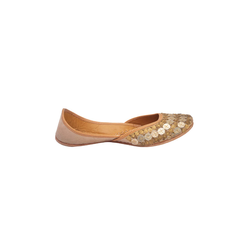Light Gold Raw Silk Coin Embellished Juttis - Riviera Closet