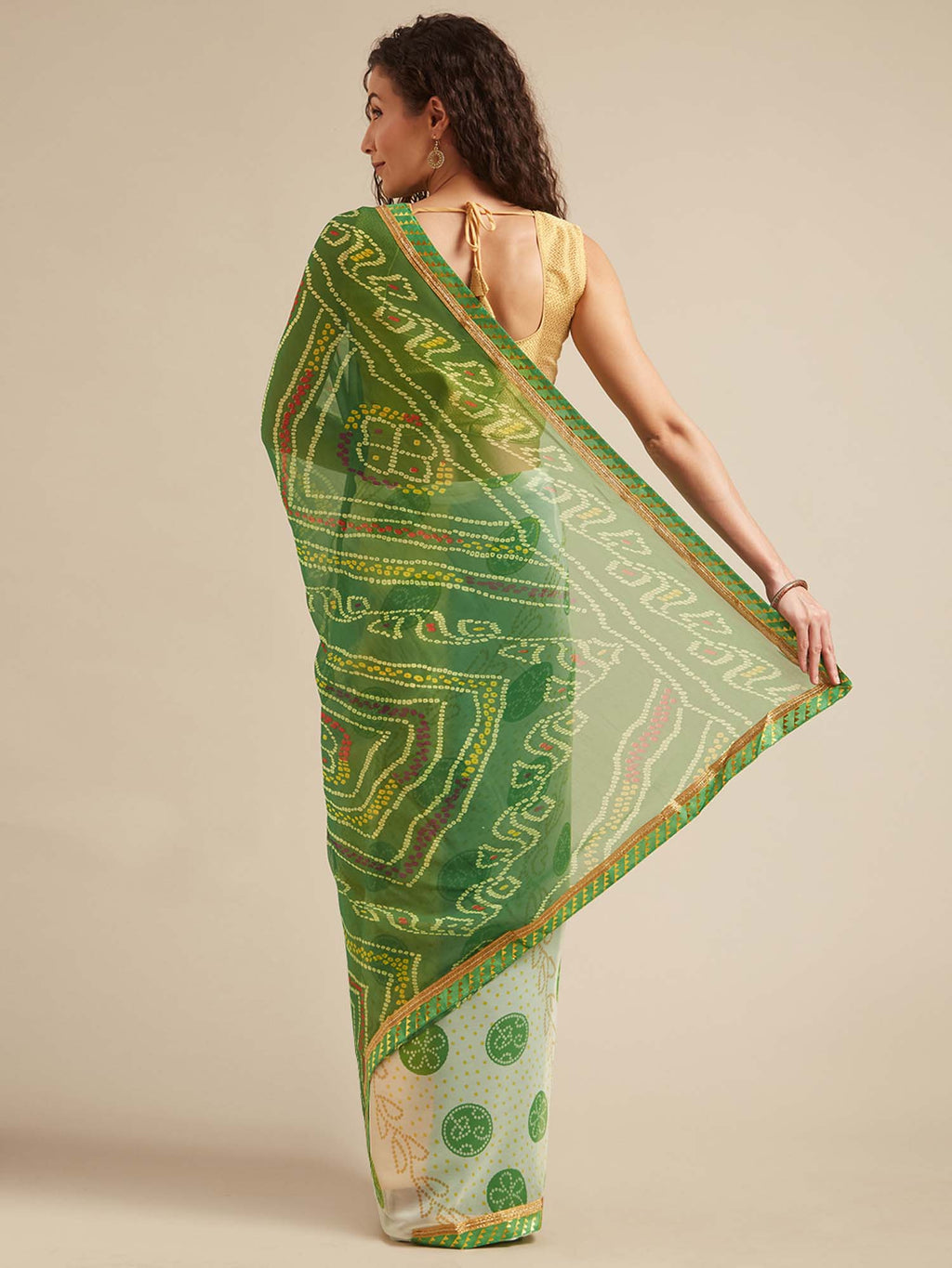 Off White and Green Poly Georgette Bandhani Design Saree with Printed Lace - Riviera Closet