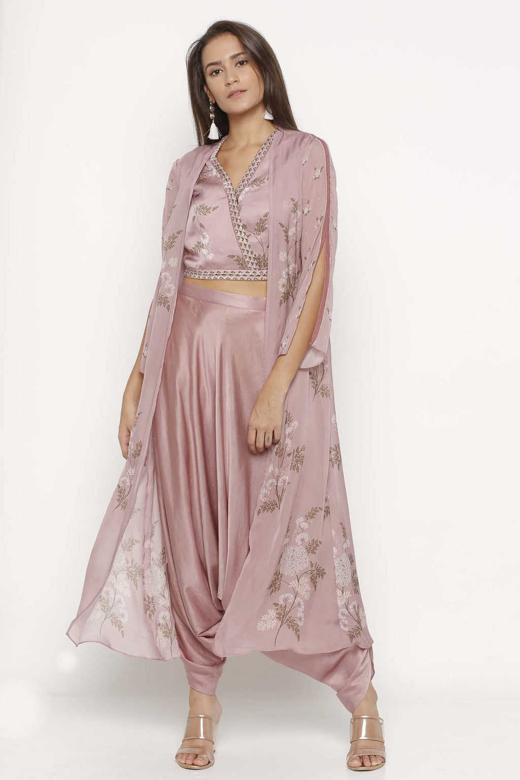 Pink Colour Dhoti Pants With Crop Top And Jacket - Riviera Closet
