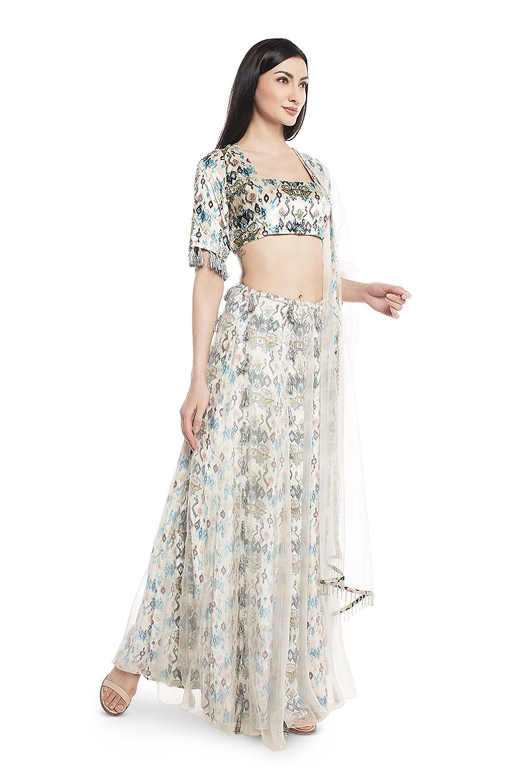 White Printed Velvet Choli and Lehenga with Attached White Organza Layer and Dupatta - Riviera Closet