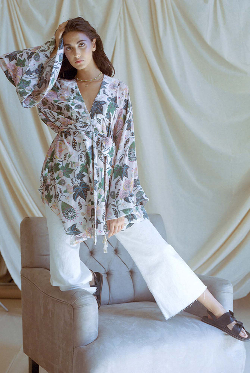 White Printed Georgette and Velvet Top - Riviera Closet