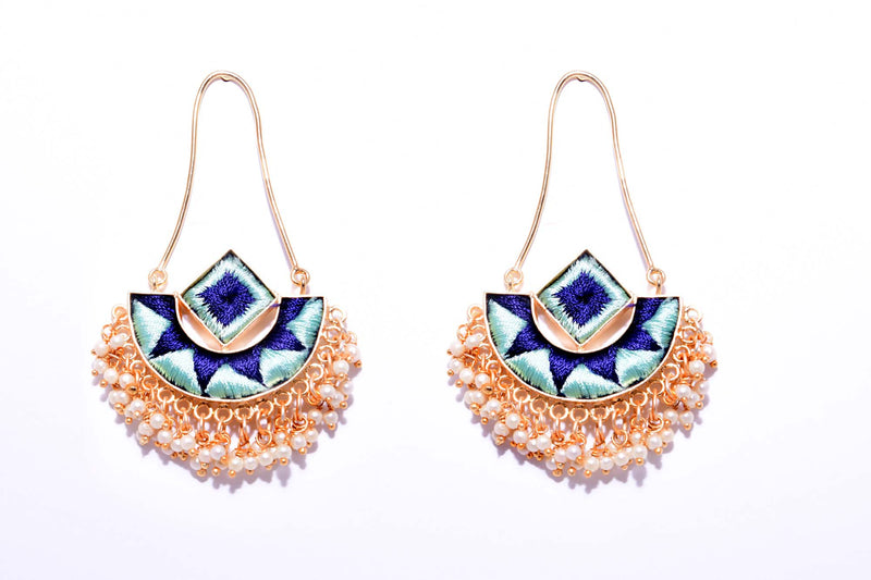 Vanilla and Navy Blue With Gold Matte Finished Fusion Of A Geometric Square And An Indian Shaped Chandbali Earrings - Riviera Closet