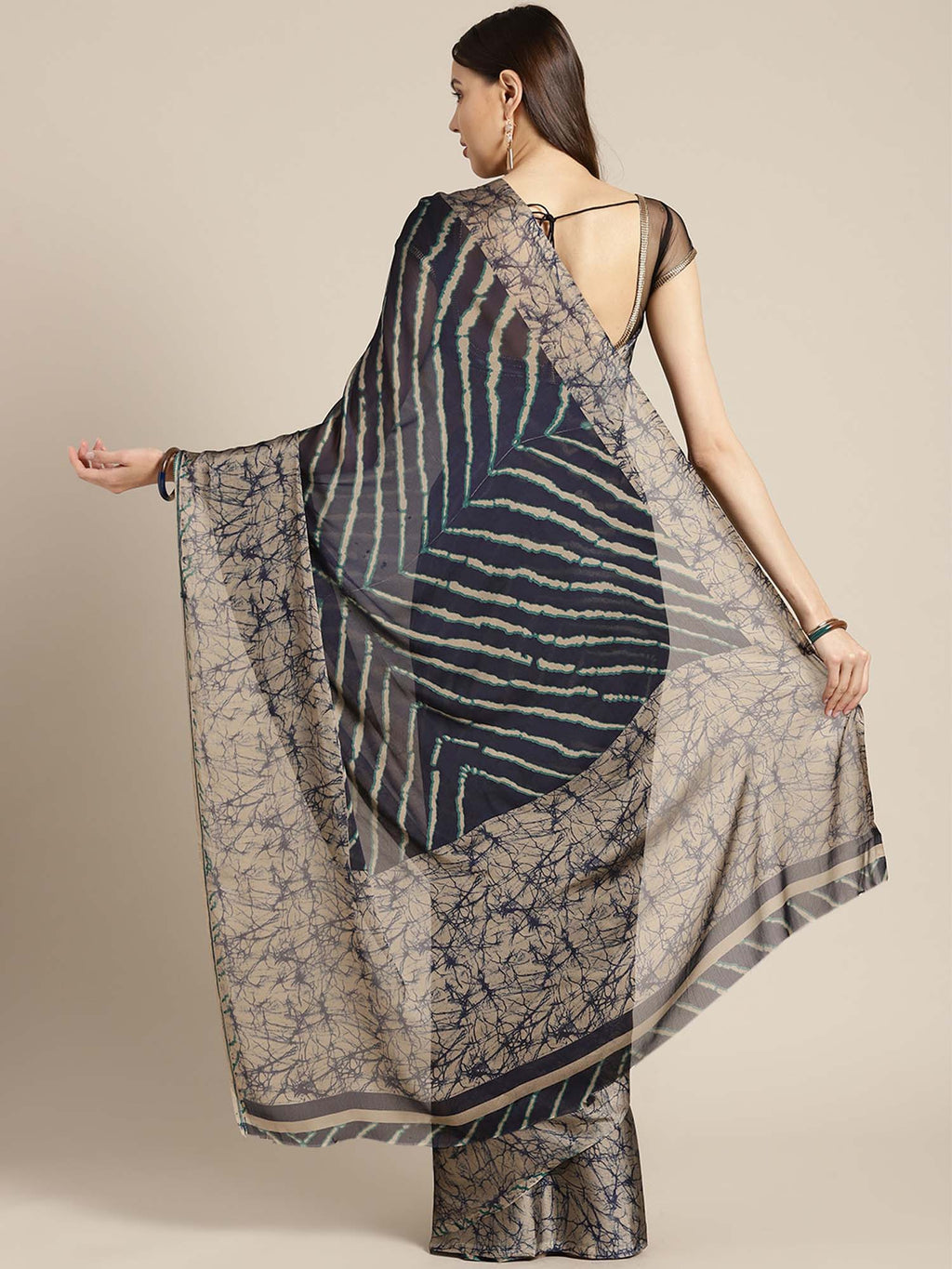 Navy Blue & Beige Striped Crepe Saree - Riviera Closet