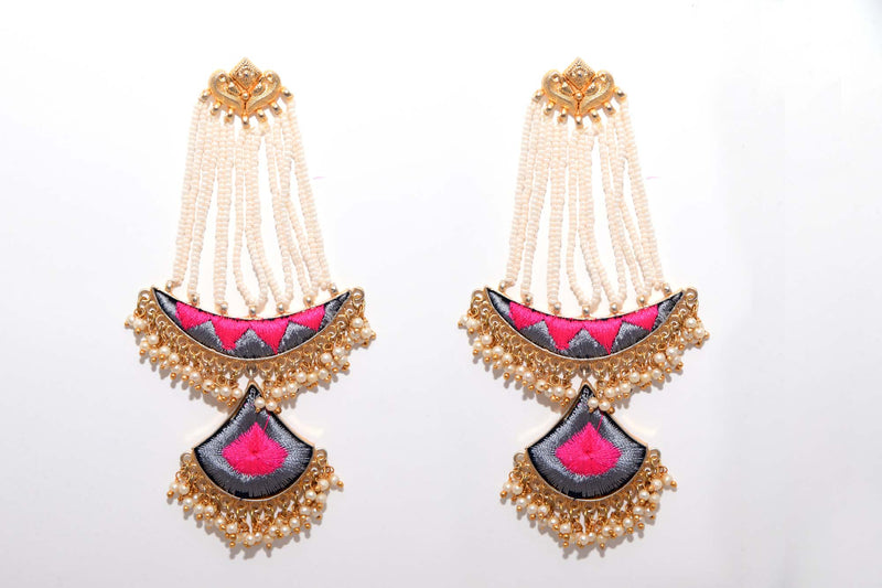 Grey And Pink Matte Finished Long Chand Shaped Silk Thread Earrings With Seven Pearl Hangings - Riviera Closet