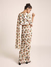 Cream Printed Art Crepe Choli and Cream Printed Art Georgette Saree - Riviera Closet