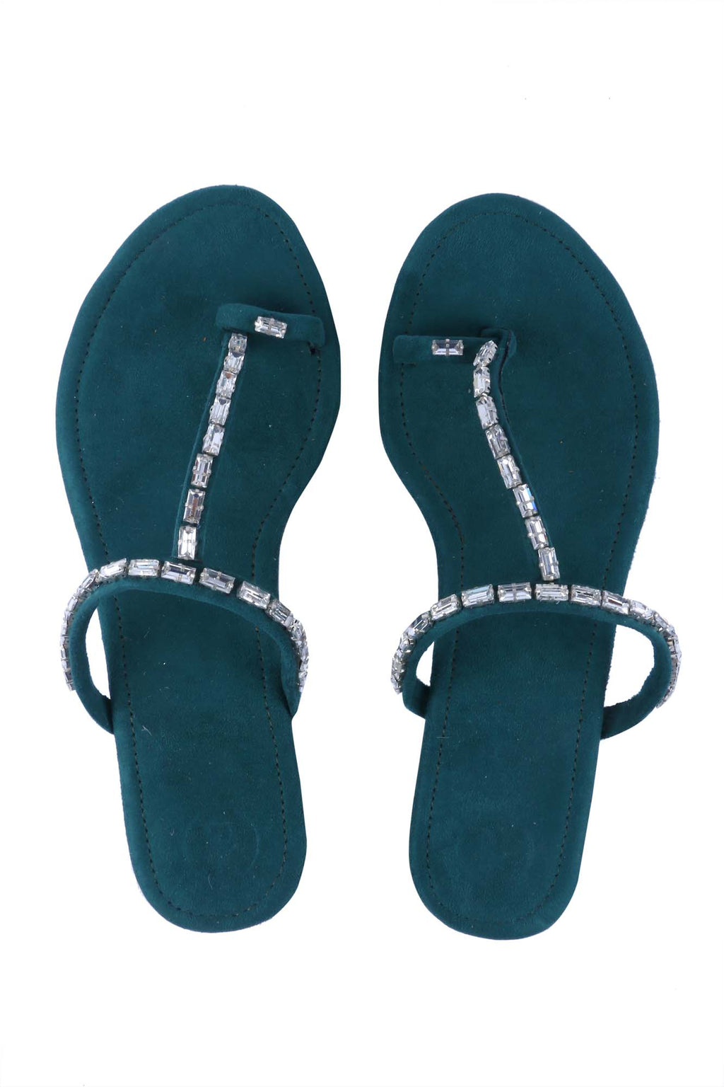 Green Stone Thumb Flats by Preet Kaur