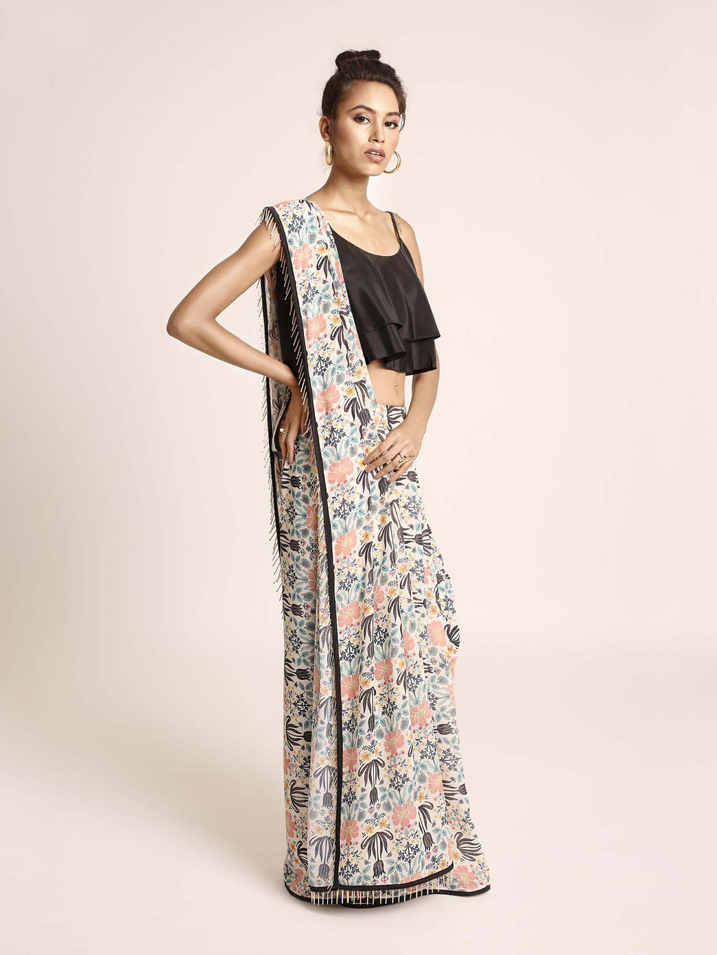 Black Art Crepe Two Layer Top with Cream Printed Art Georgette Saree - Riviera Closet