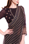 Printed Black and Beige Saree with Gold Embroidered Blouse - Riviera Closet