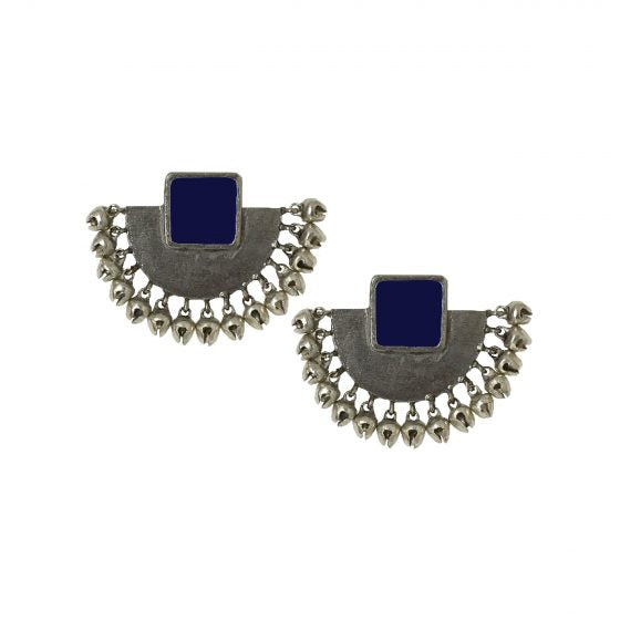 Blue Enamel Half Moon Ear Studs - Riviera Closet