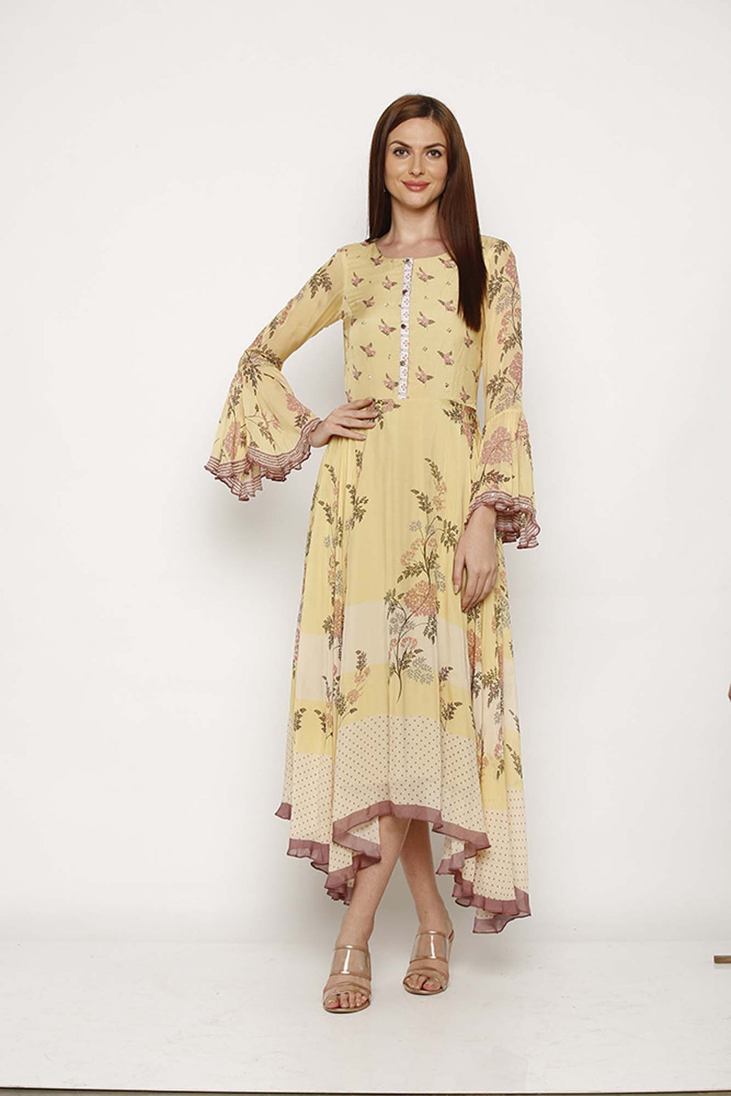 Printed Yellow Asymmetric Tunic - Riviera Closet