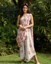 Laurel Green Palazzo Jumpsuit With A Detachable Carnation Pink Pallu - Riviera Closet