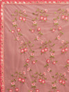 Pink Net Machine Thread Embroidered Saree With Crystal Stonework - Riviera Closet