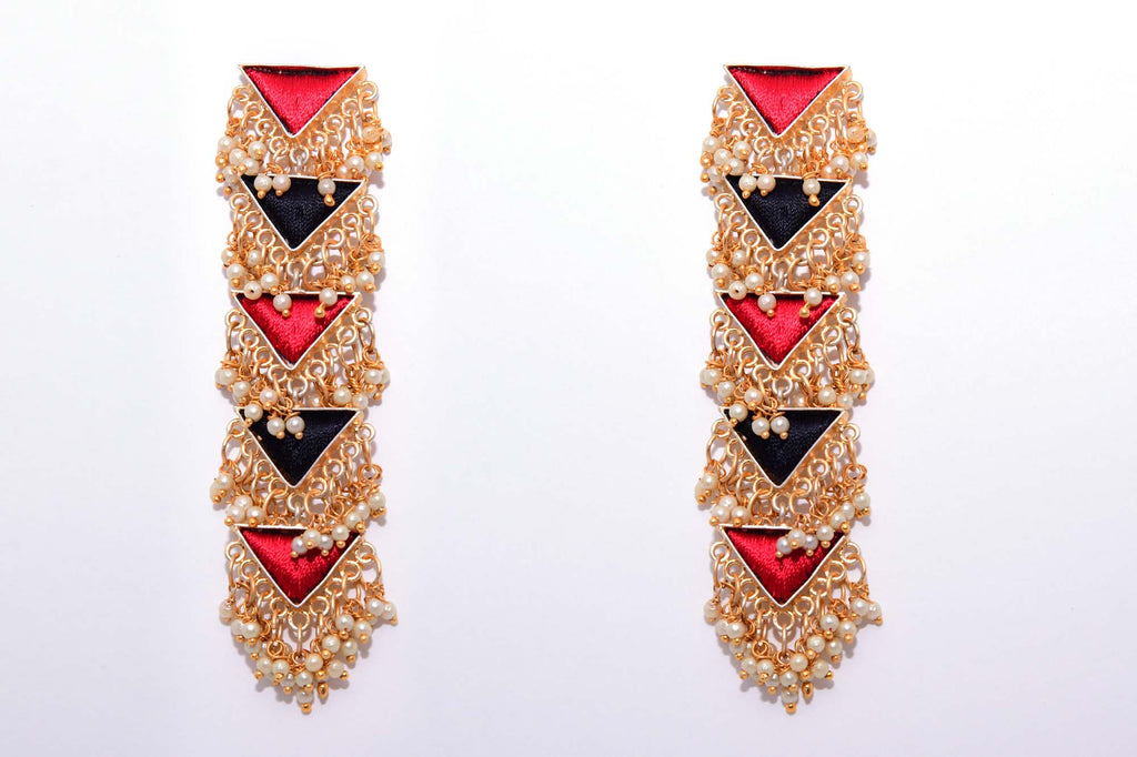 Black and Red Matte Finished Five Layered Long Triangle Earrings - Riviera Closet