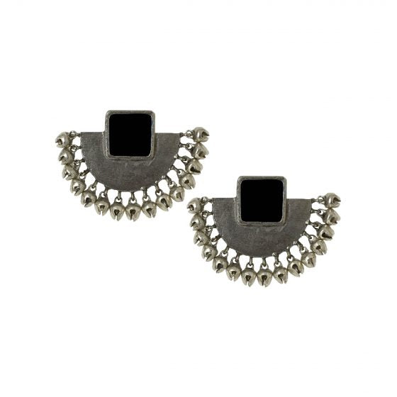 Black Enamel Half Moon Ear Studs - Riviera Closet