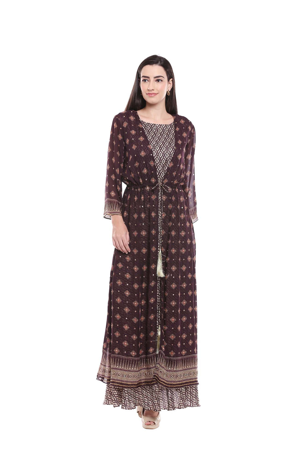 Ikat Printed Black and Beige Flared Dress with Back Jacket - Riviera Closet