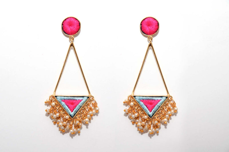 Pink And Vanilla Matte Finish Triangle Earrings With Long Pipe - Riviera Closet