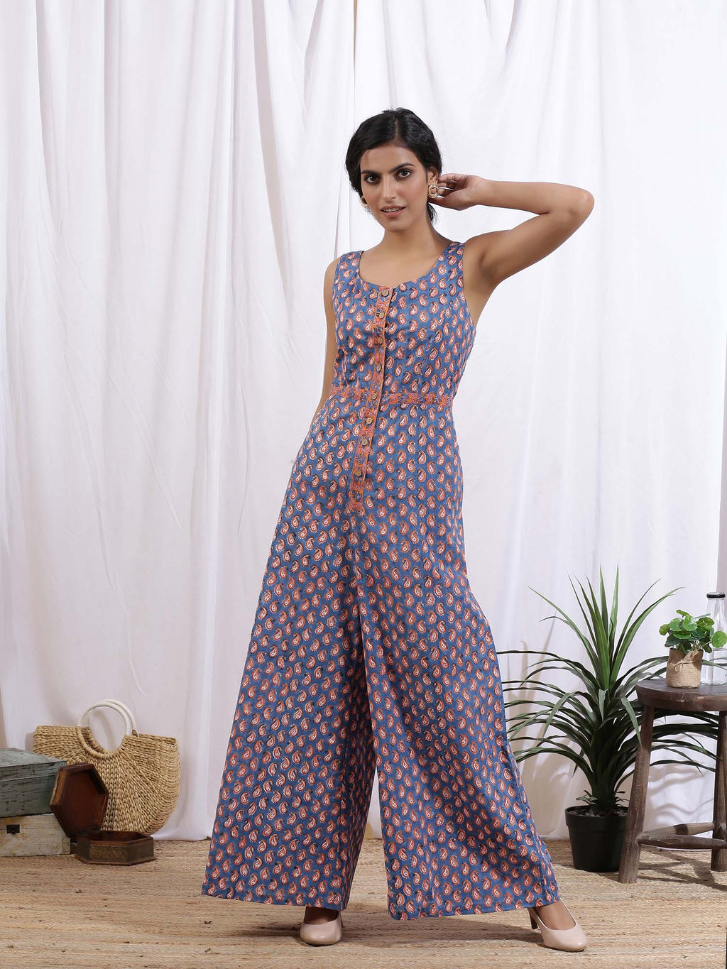 Blue Colour Paisley Pop Jumpsuit - Riviera Closet