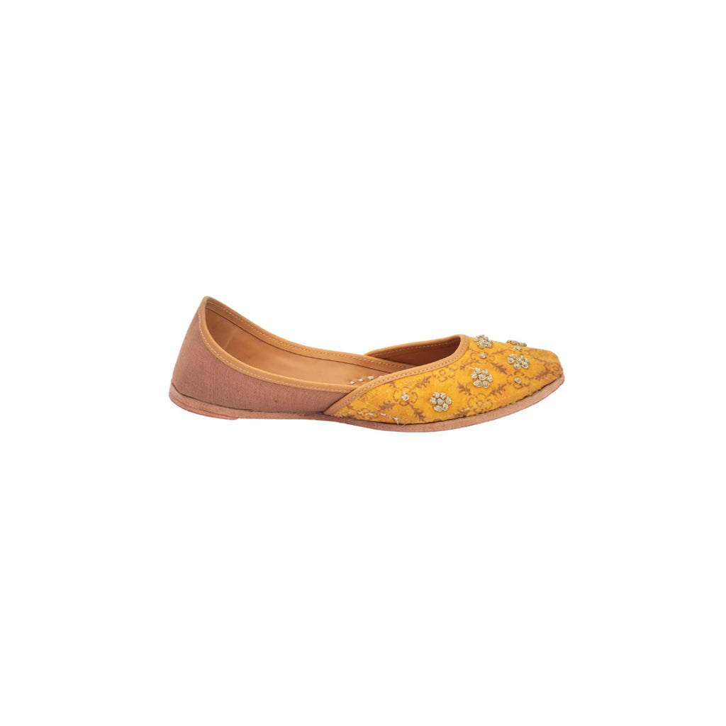 Khadi Mustard Yellow Colour Hand Embroidered Printed Juttis - Riviera Closet