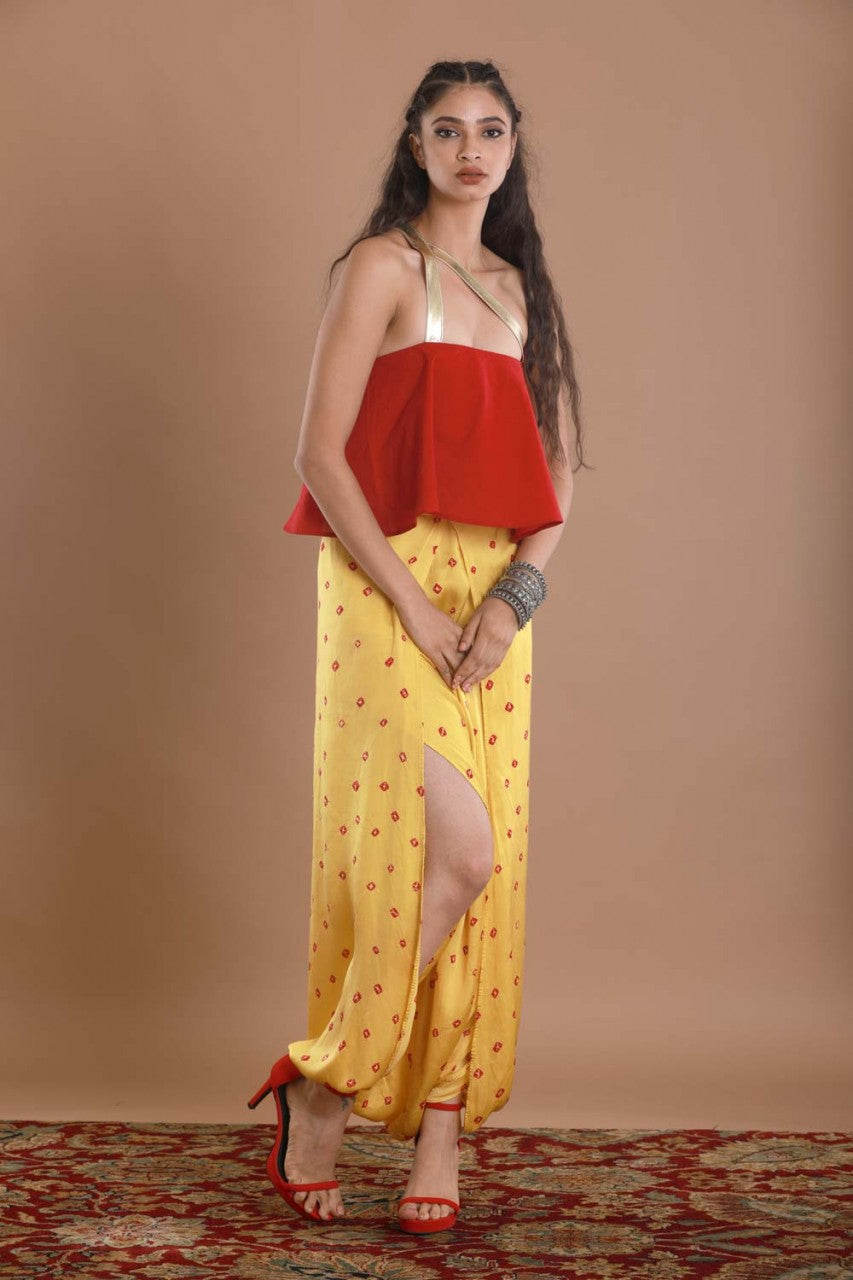Bandhej Yellow Wrap Pants Set - Riviera Closet