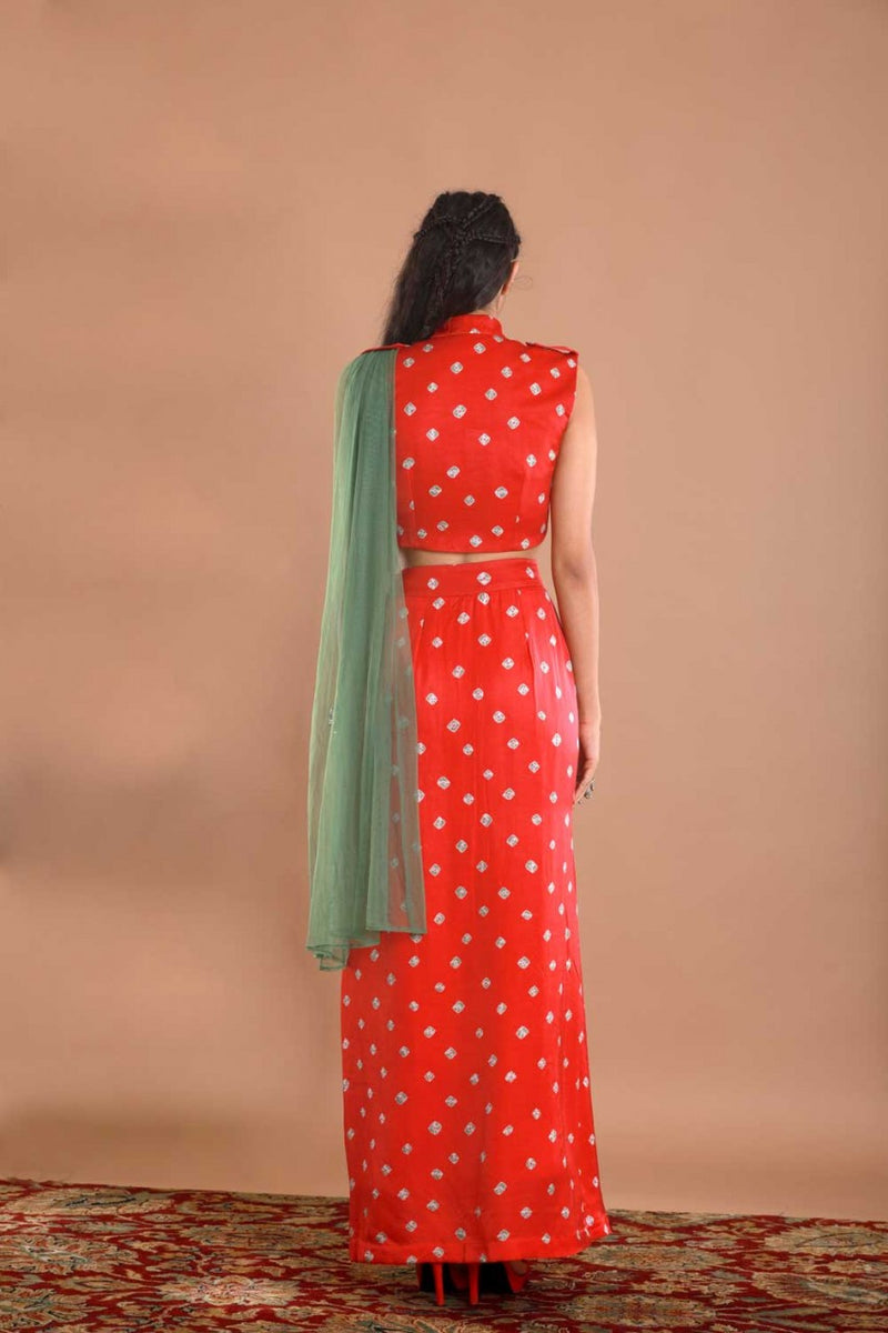 Red Bandhej Saree Set - Riviera Closet