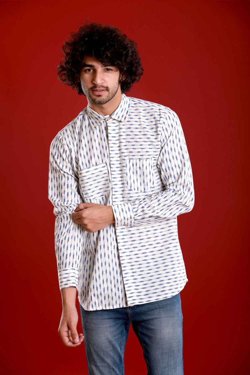 Ikat Blue Box Shirt - Riviera Closet
