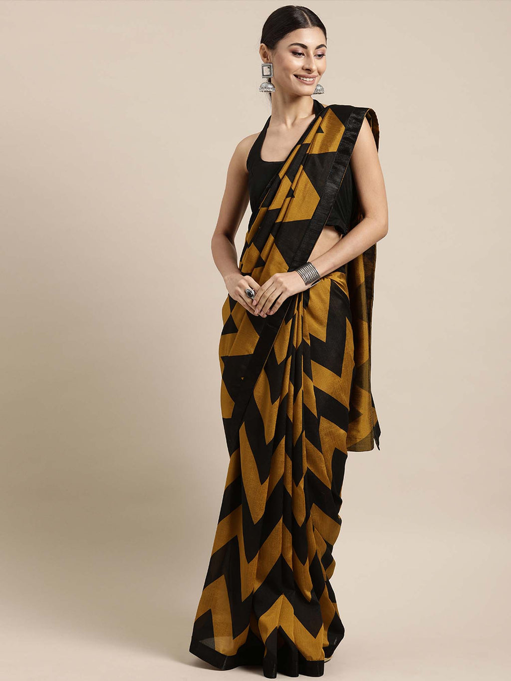 Mustard and Black Color Poly Crepe Leheriya Saree - Riviera Closet