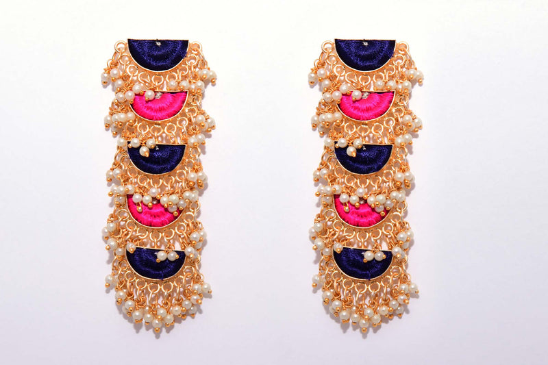 Navy Blue and Pink Matte Finished Five Tier Semi-Circle Geometric Earrings - Riviera Closet