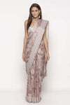 Pink Printed Draped Saree by Soup by Sougat Paul