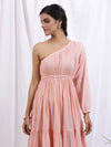 Peach Colour One Shoulder Dress - Riviera Closet