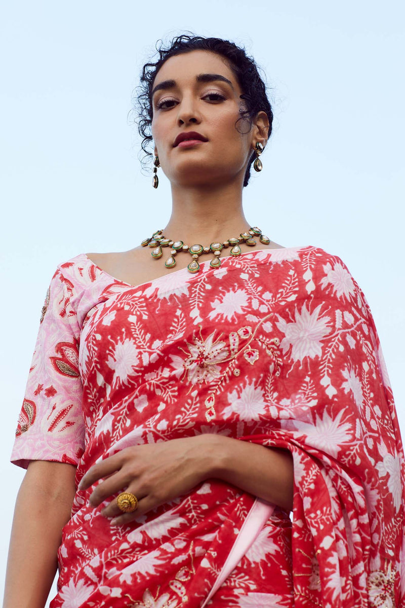 Pink and Red Afreen Silk Blouse - Riviera Closet