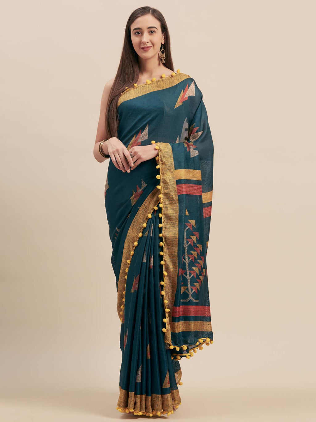 Teal Blue Jute Cotton Printed Saree With Pom Pom Lace - Riviera Closet