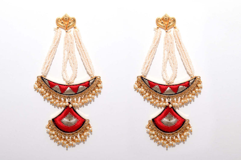 Red Matte Finished Long Chand Shaped Silk Thread Earrings - Riviera Closet